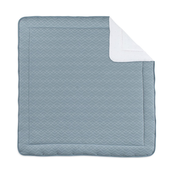 Playpen mat Pady quilted jersey + jersey 100x100cm OSAKA Mineral blue