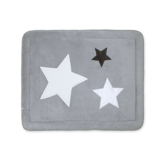 Padded play mat Pady softy + terry 75x95cm STARY Little stars print medium grey