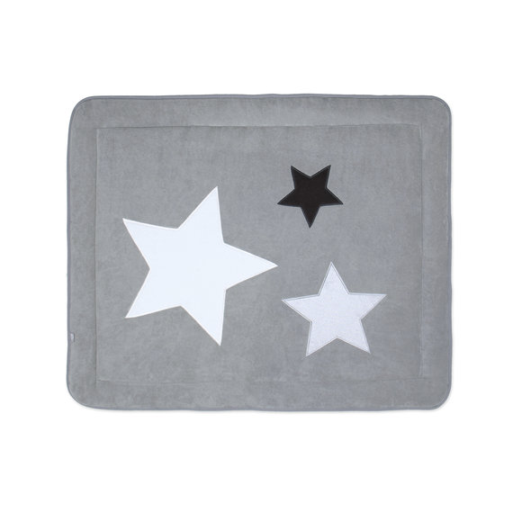 Padded play mat Pady terry + terry 75x95cm STARY Little stars print medium grey