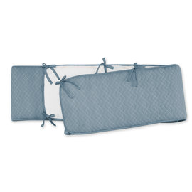 Playpen bumper Pady quilted jersey + jersey 75x95x28cm OSAKA Mineral blue