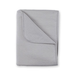 Couverture Pady twin jersey + twin jersey 75x100cm DUNES Rayure gris ecru