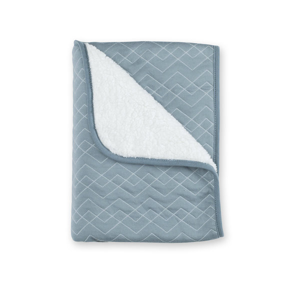 Blanket Pady quilted + teddy 75x100cm OSAKA Mineral blue