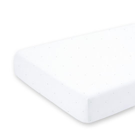 Crib sheet Jersey 40x90cm CHOUX small dot print white