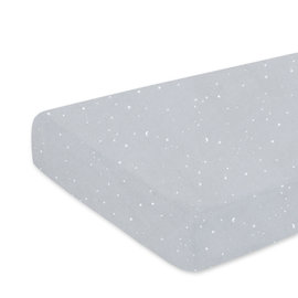 Crib sheet  40x90cm STARY Little stars print medium grey