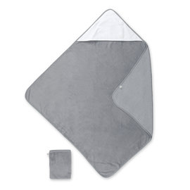 Bath cape Bamboo 90x90cm CHOUX small dot print grey